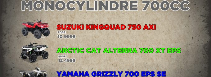 ESSAI : VTT monoplaces monocylindres : Suzuki Kinquad 750, Arctic Cat Alterra 700 et Yamaha Grizzly 700