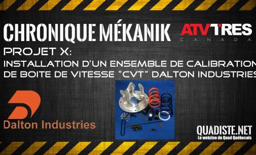 PROJET X Phase II: Installation d'un kit de calibration CVT Dalton industries
